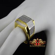 10k Men's  Yellow Gold  Round Cut Diamond Pave Designer Pinky Band Ring 0.75 CTW