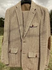 New Polo Ralph Lauren 2 Button Brown Suit Linen Sz 40R Brown Leather Elbow Patch
