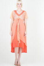 Gatsby Style Nataya Vintage Dress S Orange/coral Formal Romantic Victorian#40191