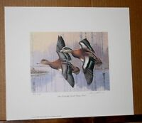 Wigeons 1990 Kentucky Duck Stamp Print with Stamp by Jim Oliver Waterfowl