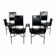 Matteo Grassi Modern Italian Dining Chairs Black Leather -Set of 4