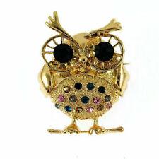 Fashion Betsey Johnson Rhinestone Gold color owl Charm Women's Brooch Pin Gift
