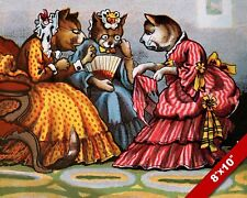 VICTORIAN CAT WOMEN GOSSIP TEA TIME PET ANIMAL ART PAINTING REAL CANVAS PRINT