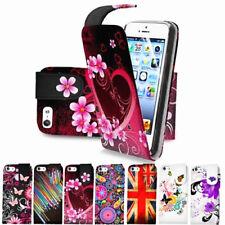 Diseño Floral Funda para Estuche Abatible de Cuero para iPhone 5 & 5S