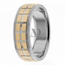 Rectangle Pattern Wedding Ring 14K Gold Two Tone Milgrain Wedding Band 7mm