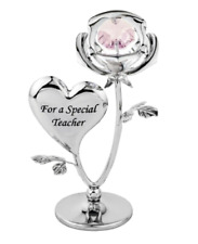 Crystocraft A Special Teacher Rose Crystal Ornament Swarovski Elements Gift Box