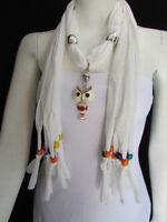 New Women White Long Soft Fashion Scarf Necklace Owl Gold Pendant Colorful Beads