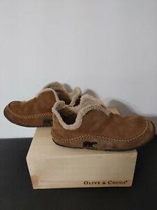 Sorel Mens Manawan NM1466-251 Brown Suede Slippers Mocs Slip On Size 11 Used FS