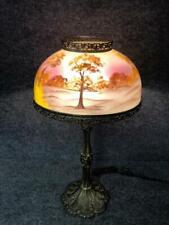 Vinatge Lamp w/Reverse Painted Glass Autumn Meadow Landscape Glass Lamp Shade