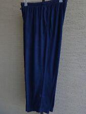 Woman Within Cotton Blend Jersey Sport Elastic Waist Pants 1X Short 22-24W Navy