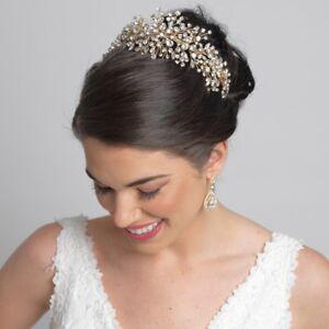 Gold Crystal Rhinestone Tiara Bridal Wedding Prom Sweet 16 Quinceanera Headband
