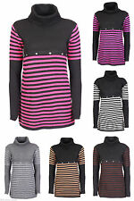 Unbranded Polo Neck Long Sleeve Striped Dresses for Women
