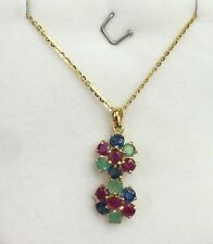 14k Solid Yellow Gold Flat Rolo Chain & Two Flowers, Mix Stones Pendant.