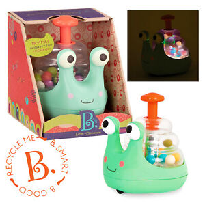 NEW B.Toys Escar-Gloooooow BABY LIGHT UP BALL POPPER Toddler Activity Snail Toy