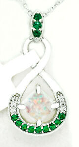 GENUINE 0.63 Cts OPAL & EMERALD PENDANT NECKLACE 925 Silver PLT ** NEW WITH TAG
