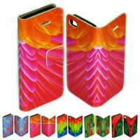 For Google Pixel Series - Colourful Feather Print Wallet Mobile Phone Case Cover