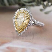 Pear Cut 2.5 Ct  Light Yellow Moissanite Engagement Ring 10k Solid Two Tone Gold