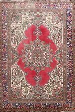 Floral Semi Antique Tebriz Hand-Knotted Area Rug Oriental Wool 7x10 ft Carpet