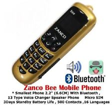 BRAND NEW ZANCO BEE  Worlds Smallest Phone with Voice Changer GOLD - PLASTIC
