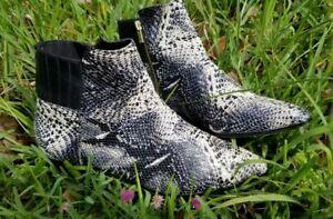 Calvin Klein Women's Boots Size 10,  Snake Skin Pattern Black and Cream