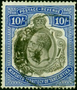 Tanganyika 1927 10s Deep Blue SG106 Fine Used