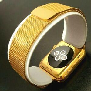 24k Gold Plated Apple Watch Series 1 Smart Watch Milanese Wristband GPS 42mm