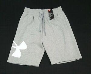 Under Armour Men's UA Rival Fleece Logo Shorts 1360605 035 Gray/White