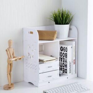 Wooden Desktop Shelf Storage Rack Book Holder With Drawers Makeup Organizer