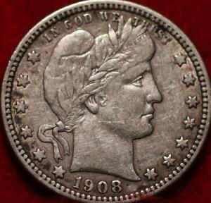 1908-S San Francisco Mint Silver Barber Quarter