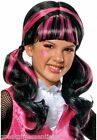 Monster High Draculaura Costume Wig Girls Child Black Pink Pigtails Hair License