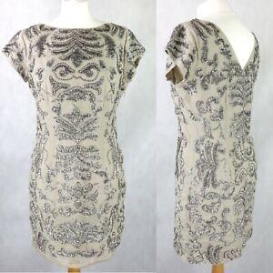 £199 MINT VELVET Sequin Embellished Shift Dress SIZE UK 12 EU 40 short Gatsby