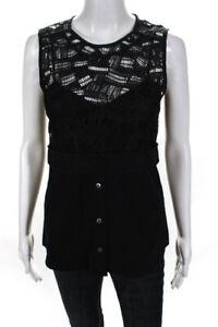 Veronica Beard Womens Lace Sleeveless Zip Up Blouse Top Black Size 2