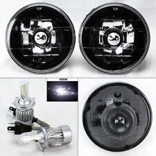 "5.75"" 5 3/4 Round Black Chrome Glass Headlight w/ 6000K 36W LED H4 Bulbs Plymout"