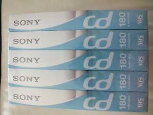 UNOPENED 5 x SONY CD 180 VHS VIDEO TAPES