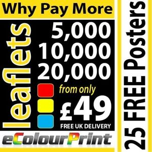 A4, A5, A6 or DL Printed Colour leaflets / flyers on 150gms