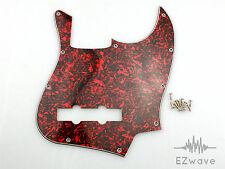 Red Tortoise 4-Ply Pickguard Scratch Plate w/ Screws for Jazz Bass
