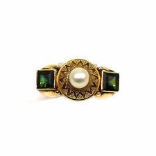 Antiker Ring mit Perle & Turmalinen 585 Gold mit Granulation Unikat um 1930