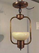 """15"""" Wired Light Fixture Brass Copper Patina Custard Slip Shade  Art Deco 22D"""