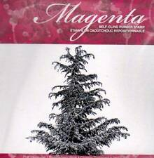 New Cling MAGENTA RUBBER STAMP Cypress Tree Christmas Winter Free usa ship