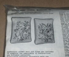 New listing 1971 Bucilla Birds & Flowers Linen Pillows or Pictures Crewel Embroidery Kit Nip