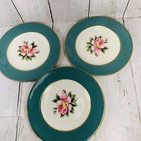Three Homer Laughlin Eggshell  Empire Green Bread & Butter Plates USA
