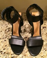 TOM FORD BLACK AND TAN VACHETTA LEATHER ANKLE STRAP 105 MM SANDALS 39.5  $1290.
