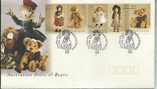 1997 Australian Dolls & Bears set of 5 FDI Camberwell Victoria Fancy Postmark