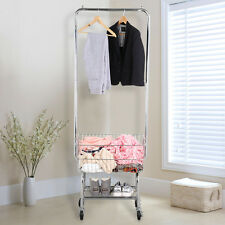 Rolling Laundry Cart Organizer w/Storage Basket Double Pole Rack Hamper Silver