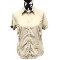 EUC Women's Columbia Sportwear Khaki Nylon Fishing Hiking Shirt Size Medium