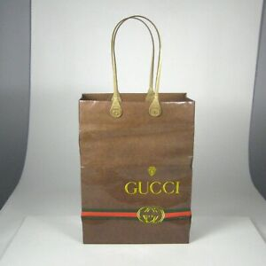 Gucci Empty Shopping Paper Bag Publistyle Italy Plastic Handles 4 x 10 x 8 Inch
