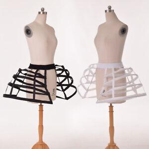 Women Bird Cage Pattern Pannier Crinoline Costume Hoop Bustle Underskirt 2 Color