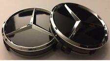 4x Black Wheels Centre Caps 60 MM outer,55 mm clips diameter. FITS Mercedes-Benz