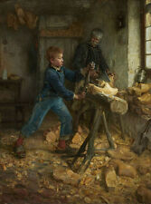 Oil painting Henry_Ossawa_Tanner The Young Sabot Maker Grandpa and grandson 36""