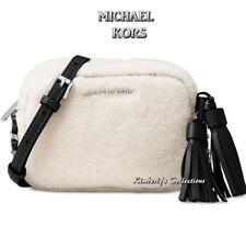 MICHAEL KORS Handbag Jet Set Crossbody Shearling Black Leather Trim Purse NWT